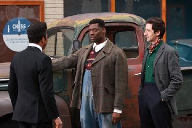"Jeffrey Wright as Muddy Waters, Eamonn Walker as Howlin' Wolf and Adrien Brody as Leonard Chess in ""Cadillac Records."""