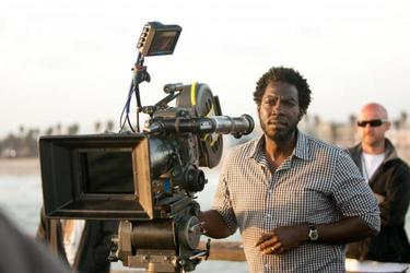"Director Rick Famuyiwa on the set of ""Our Family Wedding."""
