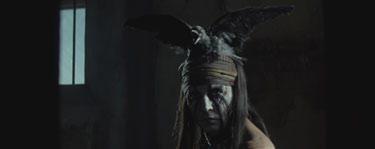 "Johnny Depp as Tonto in ""The Lone Ranger."""