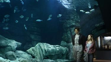 "Richard Rider as Georges Cuvier and Chloe Hollings as Julie in ""Sea Rex: Journey to a Prehistoric World."""