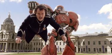 "Jack Black as Lemuel Gulliver and Chris O'Dowd as General Edward in ""Gulliver's Travels."""