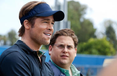 "Brad Pitt and Jonah Hill in ""Moneyball."""
