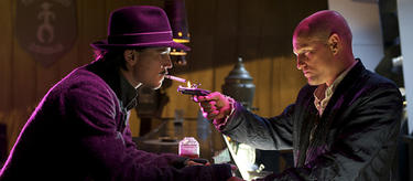 "Josh Hartnett as The Drifter and Woody Harrelson as Bartender in ""Bunraku."""