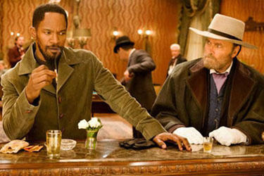 "Jamie Foxx and Christoph Waltz in ""Django Unchained."""