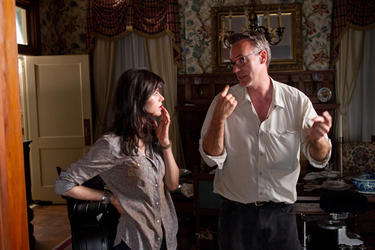 "Alexandra Daddario and director John Luessenhop on the set of ""Texas Chainsaw 3D."""