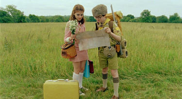 "Kara Hayward as Suzy and Jared Gilman as Sam in ""Moonrise Kingdom."""
