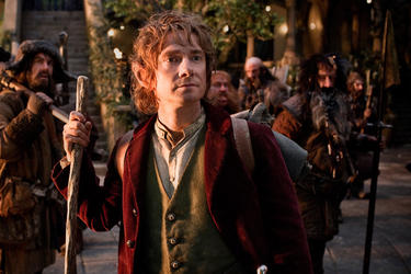 "James Nesbitt as Bofur, Martin Freeman as Bilbo Baggins, Stephen Hunter as Bombur, Graham Mctavish as Dwalin, William Kircher as Bifur and Jed Brophy as Nori in ""The Hobbit: An Unexpected Journey."""