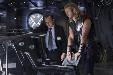"Clark Gregg and Chris Hemsworth in ""The Avengers."""
