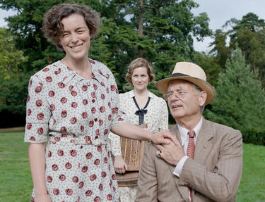 "Olivia Williams as Eleanor Roosevelt, Laura Linney as Daisy and Bill Murray as Franklin D. Roosevelt in ""Hyde Park on Hudson."""
