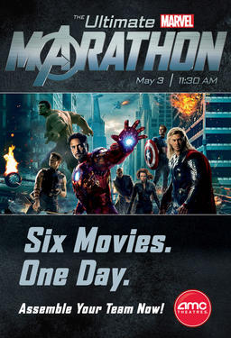 "Poster art for ""The Ultimate Marvel Marathon."""