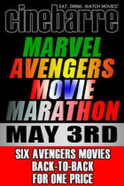 "Poster art for ""Cinebarre's Marvel Avengers Movie Marathon."""