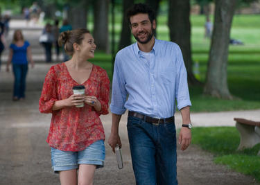 "Elizabeth Olsen as Zibby and Josh Radnor as Jesse in ""Liberal Arts."""