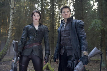 "Gemma Arterton as Gretel and Jeremy Renner as Hansel in ""Hansel and Gretel: Witch Hunters."""