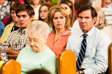 "Zac Efron as Dean, Kim Dickens as Irene and Dennis Quaid as Henry in ""At Any Price."""