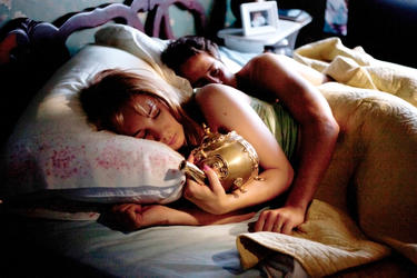 "Juno Temple and Michael Angarano in ""The Brass Teapot."""
