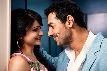 "Prachi Desai and John Abraham in ""I, Me Aur Main."""