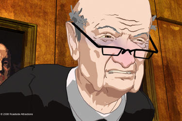 "Judge Julius Hoffman, animated, in ""Chicago 10."""