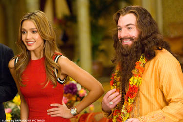 "Jessica Alba (left) and Mike Myers (right) in ""The Love Guru."""