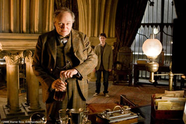 "Jim Broadbent as Professor Horace Slughorn and Daniel Radcliffe as Harry Potter in ""Harry Potter and the Half-Blood Prince."""