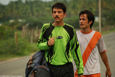 "Diego Luna as Beto and Gael Garcia Bernal as Tato in ""Rudo y Cursi."""