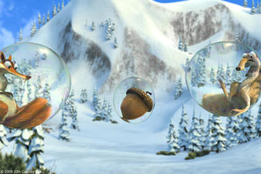 "Scratte (voice of Karen Disher) and Scrat (voice of Chris Wedge) in ""Ice Age: Dawn of the Dinosaurs."""