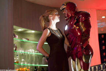 "Gwyneth Paltrow as Pepper Potts and Robert Downey Jr. as Tony Stark/Iron Man in ""Iron Man 2."""