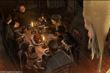 "Ebenezer Scrooge (voice of Jim Carrey) observes Bob Cratchit (Gary Oldman) and family in ""Disney's A Christmas Carol."""
