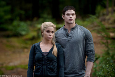 "Nikki Reed as Rosalie and Kellan Lutz as Emmett in ""The Twilight Saga: Eclipse."""