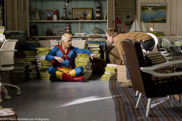 "Ryan Reynolds as Captain Excellent and Jeff Daniels as Richard in ""Paper Man."""