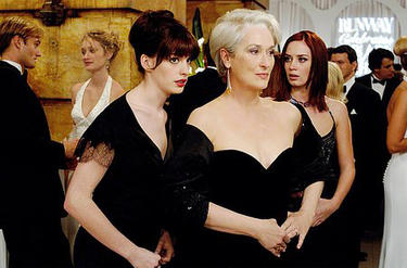 "Meryl Streep and Anne Hathaway in ""The Devil Wears Prada."""