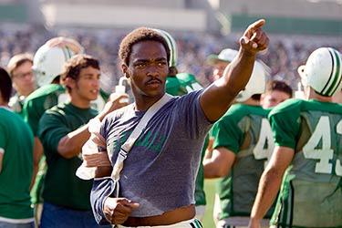 "Nate Ruffin (Anthony Mackie) points to the stands in ""We Are Marshall."""