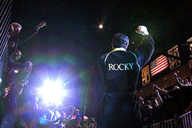 "Sylvester Stallone garners cheers from the crowd in ""Rocky Balboa."""