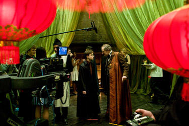 "Daniel Radcliffe and Jim Broadbent on the set of ""Harry Potter and the Half-Blood Prince."""