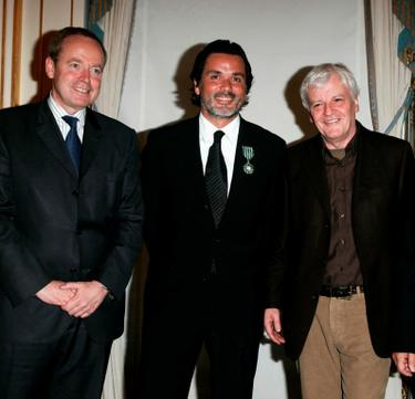 Renaud Donnedieu de Vabres, Director Christophe Barratier and Jacques Perrin at the Knight of the Legion of Honor Awards.