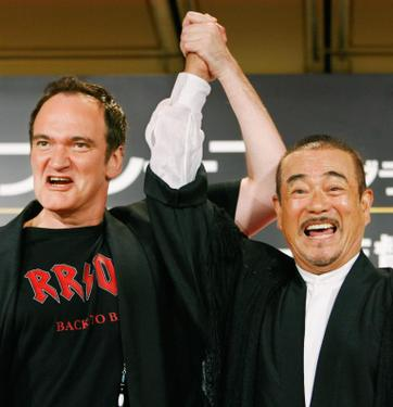 "Quentin Tarantino and Shinichi Chiba at the Tokyo promotion of ""Death Proof""."