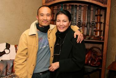 Long Nguyen and Kieu Chinh at the 3 Skin Leather Display.