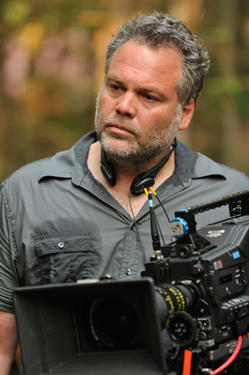 "Director Vincent D'Onofrio on the set of ""Don't Go In the Woods."""