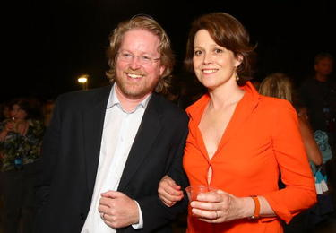 "Andrew Stanton and Sigourney Weaver at the after party of the world premiere of ""Wall-E."""