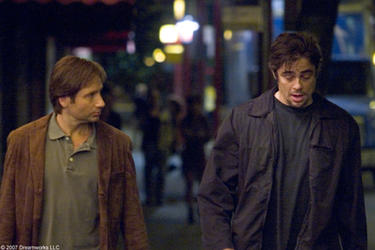 "David Duchovny and Benicio Del Toro in ""Things We Lost in the Fire."""
