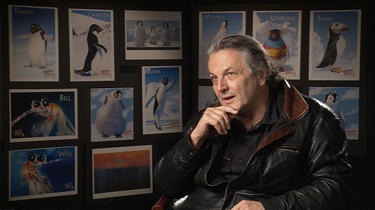 "Director George Miller on the set of ""Happy Feet Two."""