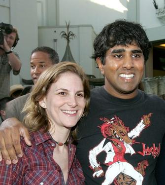 "Dana Goldberg and Jay Chandrasekhar at the premiere of ""The Dukes of Hazzard."""