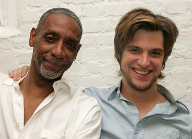 "Thomas Jefferson Byrd and Shane McRae at the rehearsals for the upcoming play ""Red Herring."""