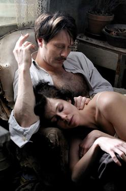 "Mads Mikkelsen as Igor Stravinsky and Anna Mouglalis as Coco Chanel in ""Coco Chanel & Igor Stravinsky."""