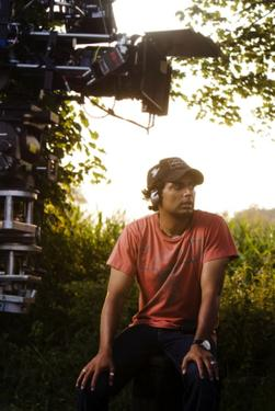"Director M. Night Shyamalan on the set of ""The Happening."""