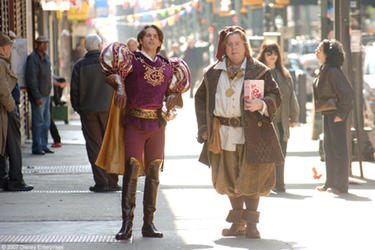 "James Marsden and Timothy Spall in ""Enchanted."""