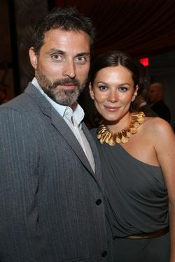 "Rufus Sewell and Anna Friel at the after party of the California premiere of ""Land Of The Lost."""
