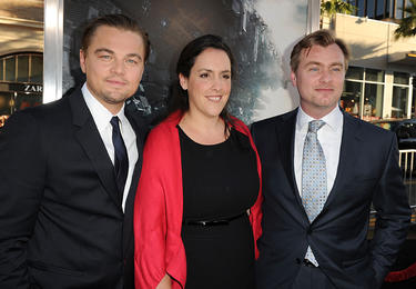 "Leonardo DiCaprio, Emma Thomas and Christopher Nolan at the premiere of ""Inception."""