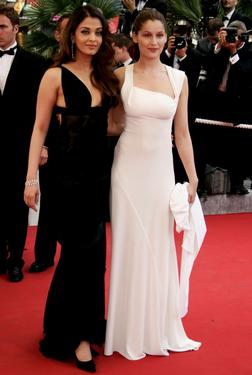 "Aishwarya Rai and Laetitia Casta at the premiere of ""Lemming"" during the opening night of the 58th International Cannes Film Festival."