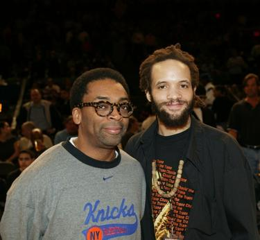Spike Lee and Savion Glover at the New York Knicks versus Chicago Bulls NBA game.