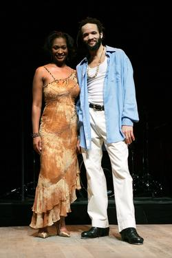 "Savion Glover and Singer Lori Ann Hunter at the open dress rehearsal for his new show ""Visions Of A Bible."""